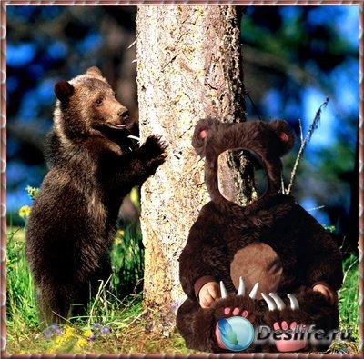 Детский шаблон для фотошоп - Медвежата в лесу