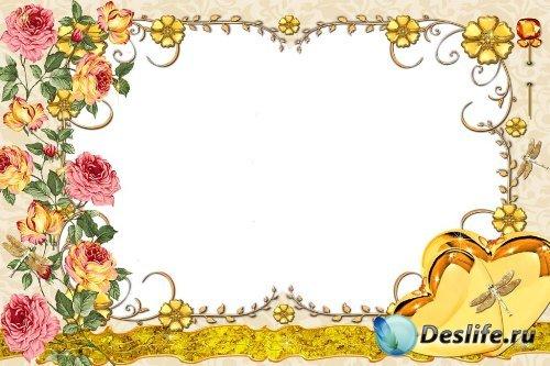 Рамка для фотошоп – Золотистая с розами
