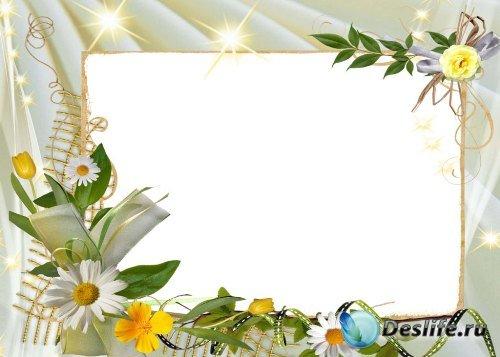 Рамка для фотошопа – Весенние цветы