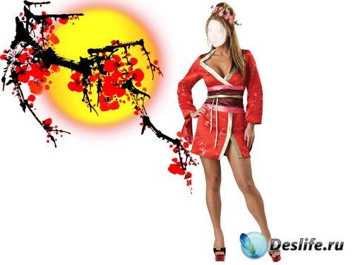 Костюм для фотошопа – Девушка в кимоно