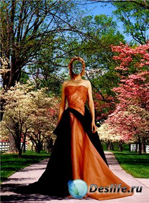 Женский костюм для фотошопа - Весной в саду