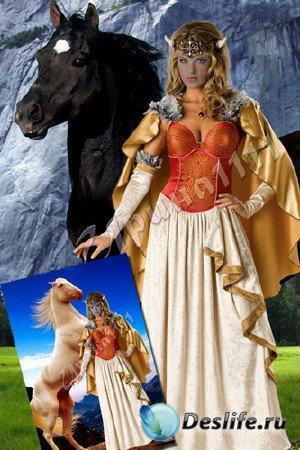 Женский костюм для фотошопа - Принцесса викингов