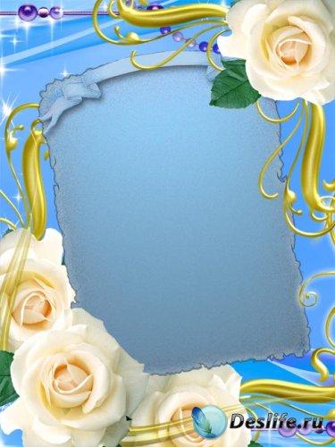 Фото рамочка – Белые розы