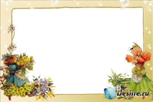 Рамка для фотошоп – Мышки с букетами