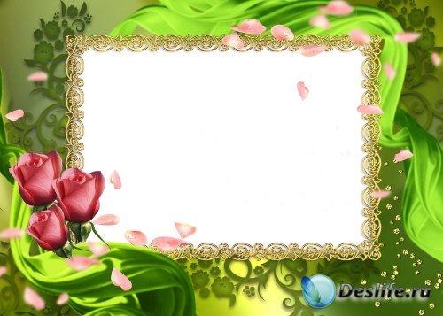 Рамка для фотошоп – Зеленая с розами