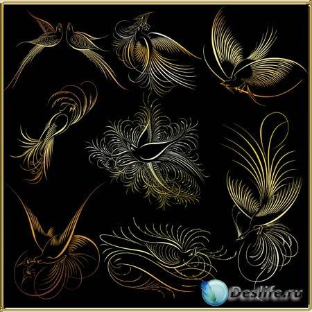 Клипарт - Золотые птички