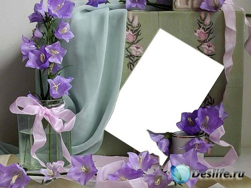 Рамка для фотошоп – Фиолетовые вьюнки