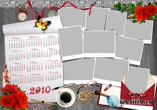 Рамка-календарь на 2010 год, красная