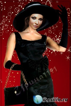 Шаблон для Photoshop - Дама в шляпе