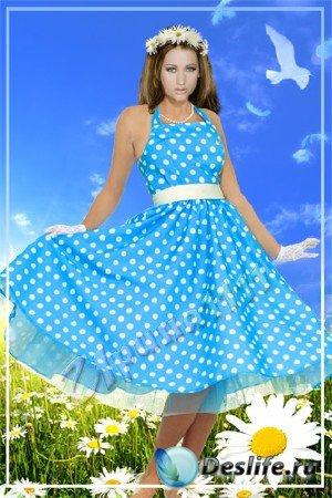 Женский шаблон для Photoshop - Девушка-весна