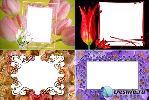 Рамки для Фотошопа с весенними цветами
