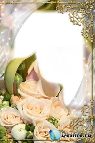 Рамка для фотошоп – Кремовые розы