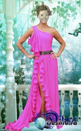 Костюм для Фотошопа - Женщина в розовом