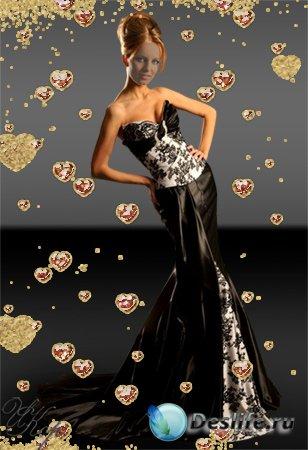 Женский костюм для Фотошопа - Вечернее черное платье