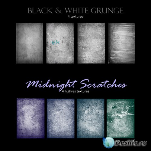 Midnight Scratches and Black & White Grunge Textures