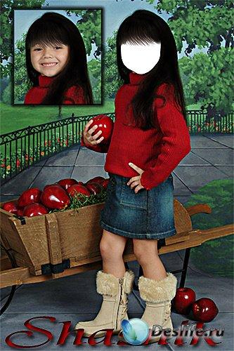 Костюм для Фотошопа - Девочка с яблоками