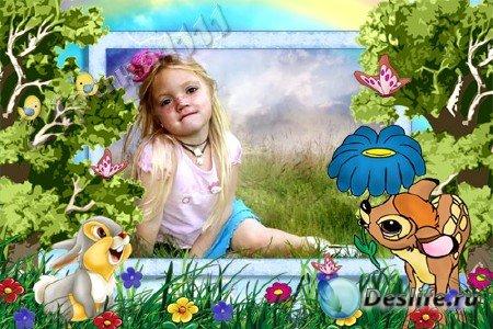 Детская рамка для Photoshop - Бэмби