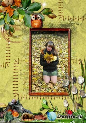 Рамка для Фотошопа - Осенняя прогулка