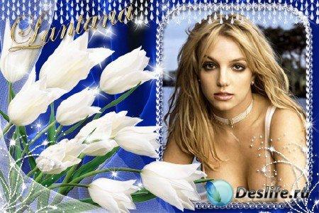 Рамочка для фото - Белые тюльпаны