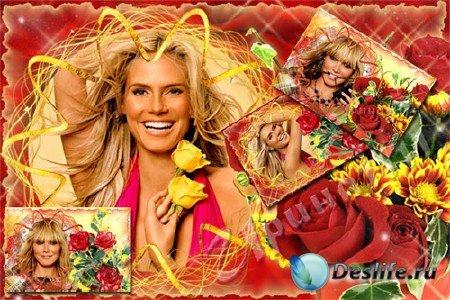 Рамка для Photoshop - Красные розы