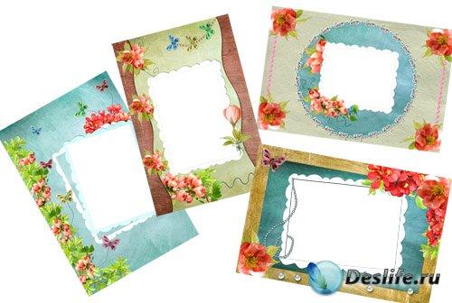 Рамка для Фотошопа - Розовые цветы