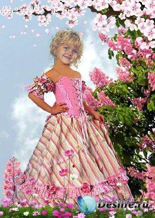 Детский костюм для Фотошопа - Девочка в саду