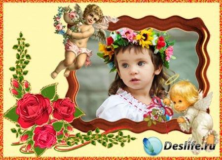 Детская рамка для Фотошопа - Ангелочки