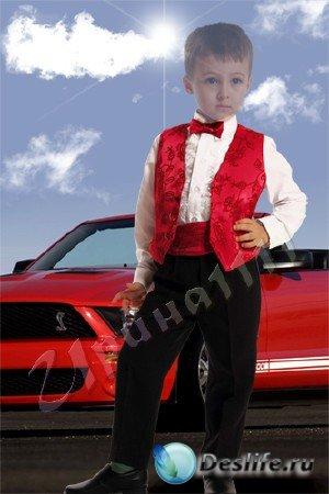 Детский костюм для Фотошопа - Мальчик у машины