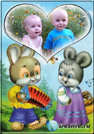 Рамка для фото с зайчатами