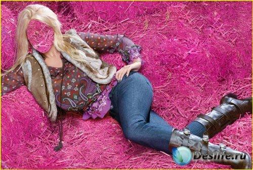 Костюм для Фотошопа – Девушка на розовой соломе