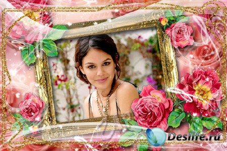 Рамка для фотошоп - Золото и розы