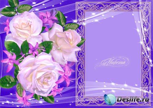 Рамка для фото - Белые розы на синем