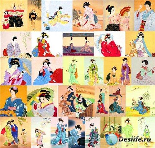 Растровый клипарт - Японские женщины