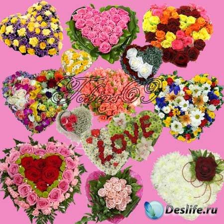 Клипарт - Цветочные сердечки