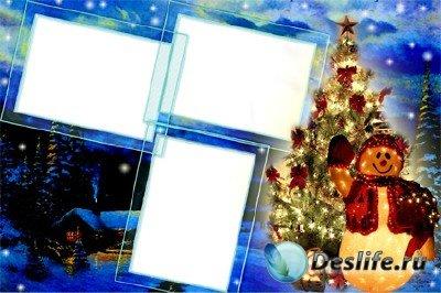 Рамка для Фотошопа - Новогодняя ночь