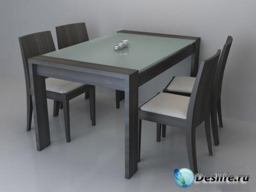 3D Модель стола Валенсия и стула Берселона. КЛМ-Мебель
