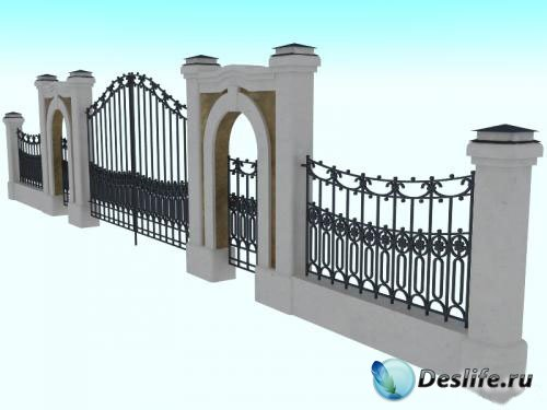 3D Модели забора с воротами