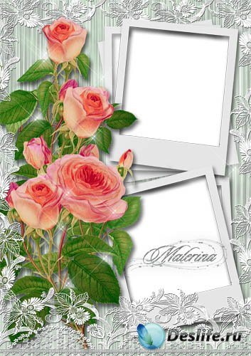 Рамка для фото - Розы, кружева, снимки