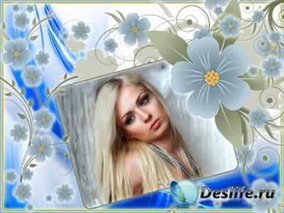 Рамка для Фотошопа - В голубых цветках
