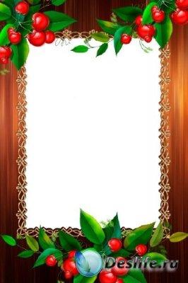 Рамка для фотошоп – Спелая вишня
