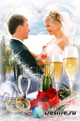 Рамка для фотошопа - Свадебная романтика