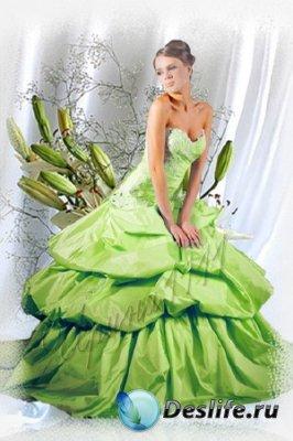 Женский костюм для фотошопа - Девушка в зеленом