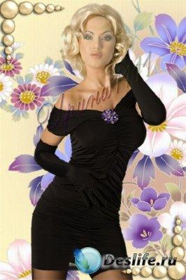Женский костюм для фотошопа - Блондинка в чёрном