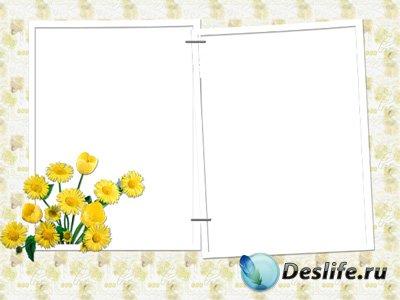 Рамка для фотошопа – С желтыми цветами