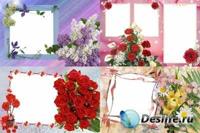 Набор цветочных рамочек для фотошопа