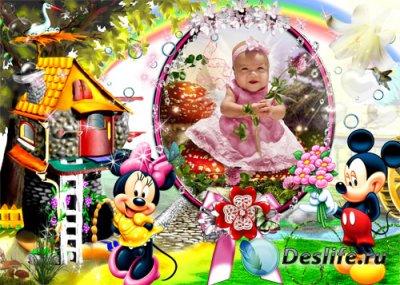 Детская рамка для фотошопа – Микки Маус и его подружка