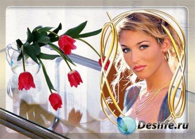 Рамка для фотошопа с цветами на столе