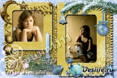 Рамка для фотошопа - Новогодняя свеча