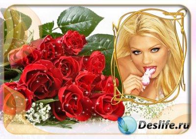 Рамка для фотошопа с букетом красных роз