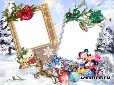 Рамочка для фотошопа в PSD - Зимний пейзаж